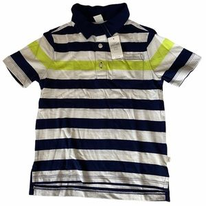 GAP blue yellow striped polo with pocket size 5 🍰
